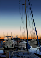 marina boats at sunset